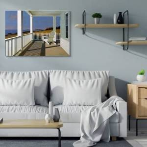 Ashley Furniture Cottage Porch Scene at Sunset 36x48 Canvas Wall Art, Blue