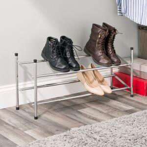 Ashley Furniture Contemporary Two Tier Expandable Shoe Rack, Chrome Finish