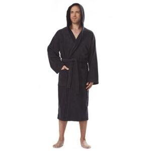 Ashley Furniture Arus Men's Hooded Classic Turkish Cotton Bathrobe (XXL), Black