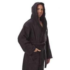 Ashley Furniture Arus Men's Hooded Classic Turkish Cotton Bathrobe (XXL), Black/Gray