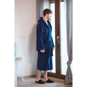 Ashley Furniture Arus Men's Hooded Classic Turkish Cotton Bathrobe (XXL), Blue