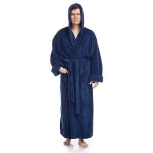 Ashley Furniture Arus Men's Full Length Hooded Turkish Bathrobe(XXL), Blue
