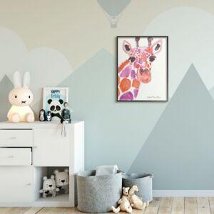 Ashley Furniture Kids Giraffe Red Purple Watercolor XXL Framed Giclee Texturized Art by Kait Roberts, 24 x 30, Pink/Multi