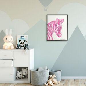 Ashley Furniture Kids Zebra Pink Watercolor XXL Black Framed Giclee Texturized Art by Kait Roberts, 24 x 30, Pink