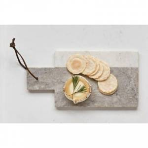 "Ashley Furniture 12""L x 6""W Marble Cheese/Cutting Board with Leather Tie, Gray and White, Gray"
