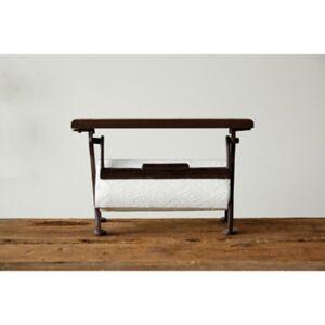 "Ashley Furniture 15-1/2""L x 6-1/2""W x 9-1/2""H Cast Iron and Wood Paper Towel Holder, Rust Finish, KD, Black"