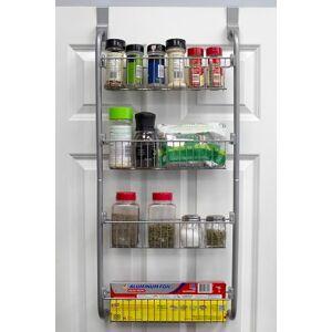 Ashley Furniture Home Basics Heavy Duty 4 Tier Over the Door Metal Pantry Organizer, Gray, Gray