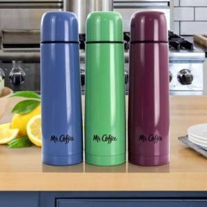 Ashley Furniture Mr. Coffee Javelin Pastel 15.5 Ounce Stainless Steel Thermal Travel Bottle in Assorted Colors, Green/Purple/Blue