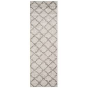 """Ashley Furniture Abstract 2'6"""" x 12' Runner Rug, Gray/White"""
