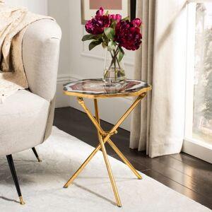 Ashley Furniture Safavieh Celeste Faux Agate Accent Table, Multi/Gold
