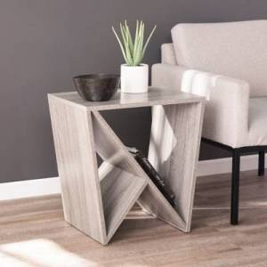 Ashley Furniture Lenz Contemporary Geometric Side Table, Gray