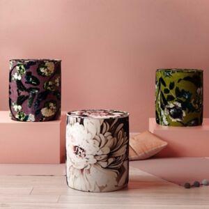 Ashley Furniture TOV Moody Floral Velvet Pouf, Black