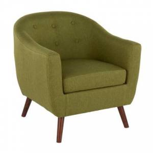 Ashley Furniture Rockwell Mid-Century Modern Accent Chair in Brown Wood and Green Fabric Leather, Brown/Green