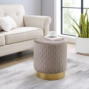 Ashley Furniture Linon Lennie Round Upholstered Stool Ottoman, Gold