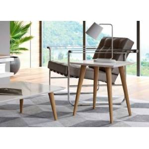 Ashley Furniture Manhattan Comfort Utopia High Square End Table in Off White, Off White