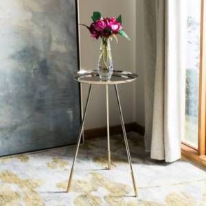Ashley Furniture Safavieh Calix Side Table with Gold Cap, Gold