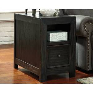 Ashley Furniture Gavelston Chairside End Table with USB Ports & Outlets, Rubbed Black