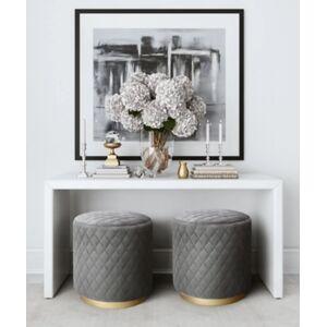 Ashley Furniture TOV Abir Grey Velvet Ottoman Abir Gray Velvet Ottoman, Gray
