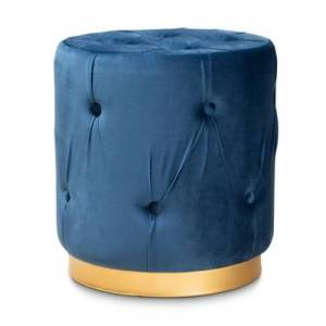 Ashley Furniture Baxton Studio Gaia Glam and Luxe Navy Blue Velvet Fabric Upholstered Gold Finished Button Tufted Ottoman, Blue