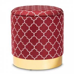Ashley Furniture Baxton Studio Serra Glam and Luxe Red Quatrefoil Velvet Fabric Upholstered Gold Finished Metal Storage Ottoman, Red/Burgundy