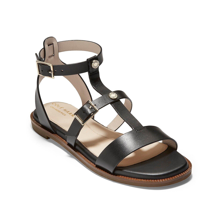 Cole Haan Wren Gladiator Sandal   Women's   Black   Size 10.5   Sandals   Flat   Gladiator   T-Strap