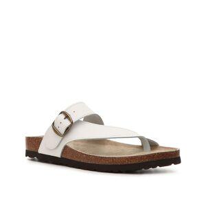 White Mountain Carly Leather Flat Sandal   Women's   White   Size 8   Sandals   Flat