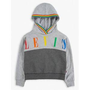 Levi's Girls (4-6x) Sporty Pieced Hoodie  - Light Grey Heather - Size: 6