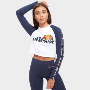 Ellesse Raglan Long Sleeve Crop T-Shirt - WHITE