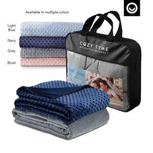 """Cozy Tyme Navy Duvet: 100% Polyester, Blanket: 100% Cotton Throws 6 Pound Calm Sleeping  - Navy - Size: 41"""" x 60"""""""