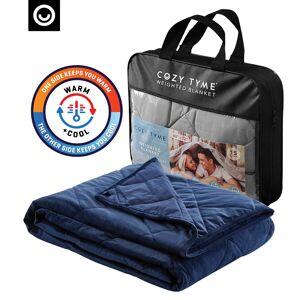 "Cozy Tyme Navy Front: 100% Polyester, Back: 100% Cotton Throws 6 Pound Calm Sleeping  - Navy - Size: 41"" x 60"""