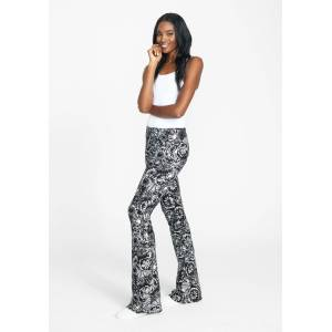 Alloy Apparel Tall Elana Printed Pants for Women in Black Tie Dye Size L length 36   Polyester