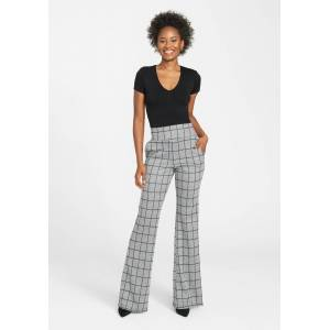 Alloy Apparel Tall Booty Knit Flare Pants for Women in Black White Size M length 37   Polyester