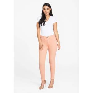 Alloy Apparel Tall Stretch Twill Plus Size Jean Leggings for Women in Coral Pink Size 8 length 37   Cotton