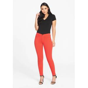 Alloy Apparel Tall Stretch Twill Plus Size Jean Leggings for Women in Flame Scarlet Size 6 length 37   Cotton
