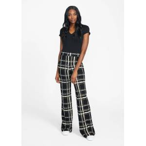 Alloy Apparel Tall Cassie Flare Pants for Women in Black Broken Plaid Size 2XL   Polyester