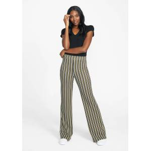 Alloy Apparel Tall Cassie Flare Pants for Women in Olive Stripe Size M   Polyester