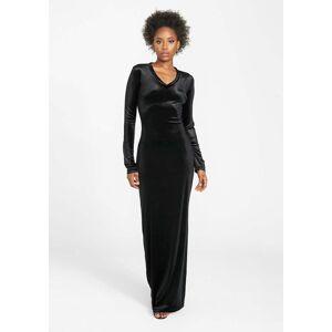 Alloy Apparel Tall Velvet Long Sleeve Dress for Women in Black Size L   Polyester