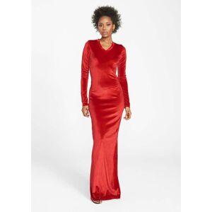 Alloy Apparel Tall Velvet Long Sleeve Dress for Women in Bright Red Size L   Polyester