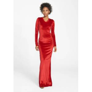 Alloy Apparel Tall Velvet Long Sleeve Dress for Women in Bright Red Size S   Polyester