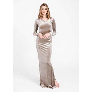 Alloy Apparel Tall Velvet Long Sleeve Dress for Women in Mocha Size L   Polyester