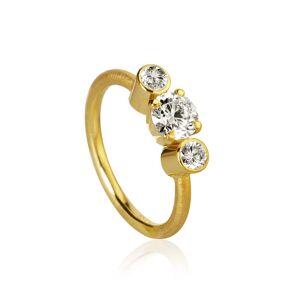 Dulong Fine Jewelry Trinitá ring with 3 brilliant cut diamonds. Total 1,12 ct. 1 x 0,80 ct. J, si1. 2 x 0,16 ct. F/G vs2. Ex. cut.Guld 18 K