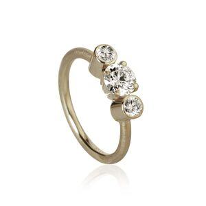 Dulong Fine Jewelry Trinitá ring with 3 brilliant cut diamonds. Total 1,12 ct. 1 x 0,80 ct. J, si1. 2 x 0,16 ct. F/G vs2. Ex. cut.Hvidguld 18 K
