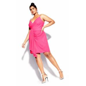 CITY CHIC DRESS DELECTABLE - Neon Pink - 18 / M