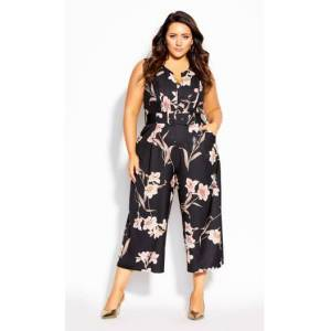 CITY CHIC JUMPSUIT FLOATING - Floating Lily - 16 / S