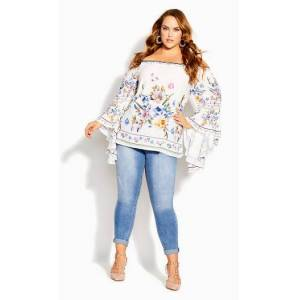 CITY CHIC TOP SWEET ROSE - Ivory Summer Rose - 22 / XL
