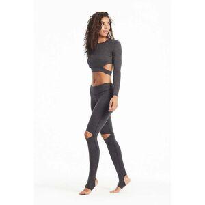 Hard Tail Forever Mid Rise Slit Knee Legging - Charcoal Black - XS