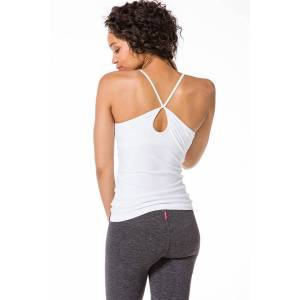 Hard Tail Forever Keyhole Crossover Tank Top with Bra - White - XS