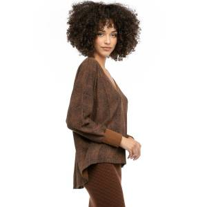 Hard Tail Forever Brushed Reptile Slouchy V-Neck Sweatshirt - Cognac - XS