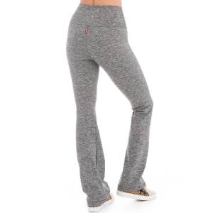 Hard Tail Forever Brushed Jersey Flat Waist Wide Flare Performance Pants - Heather Gray - XS