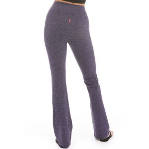 Hard Tail Forever Brushed Jersey Flat Waist Wide Flare Performance Pants - Navy Blue - XS